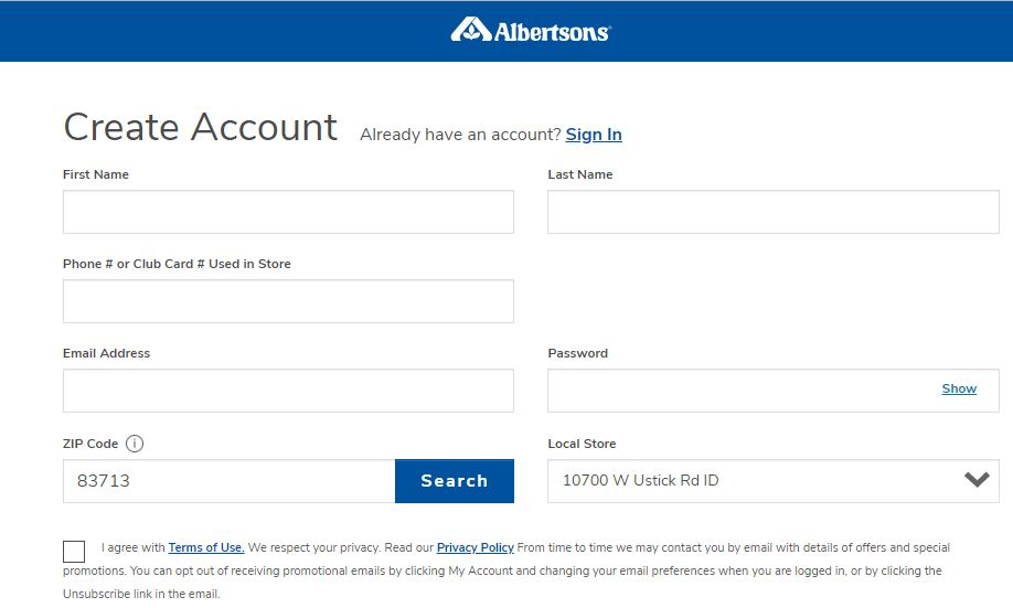Albertsons Registration